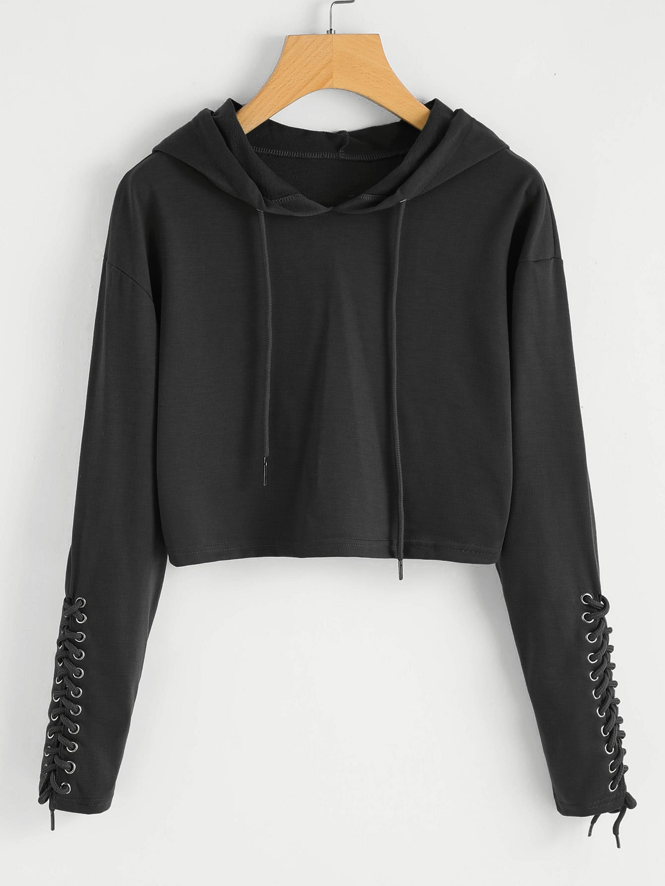 Grommet Lace Up Sleeve Crop Hoodie grommet lace up marled knit crop sweatshirt