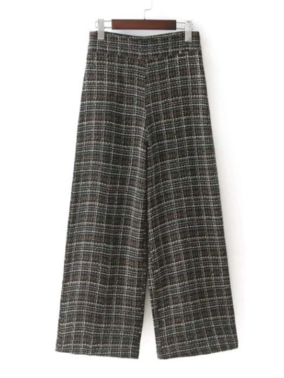 Wide Leg Tweed Plaid Pants