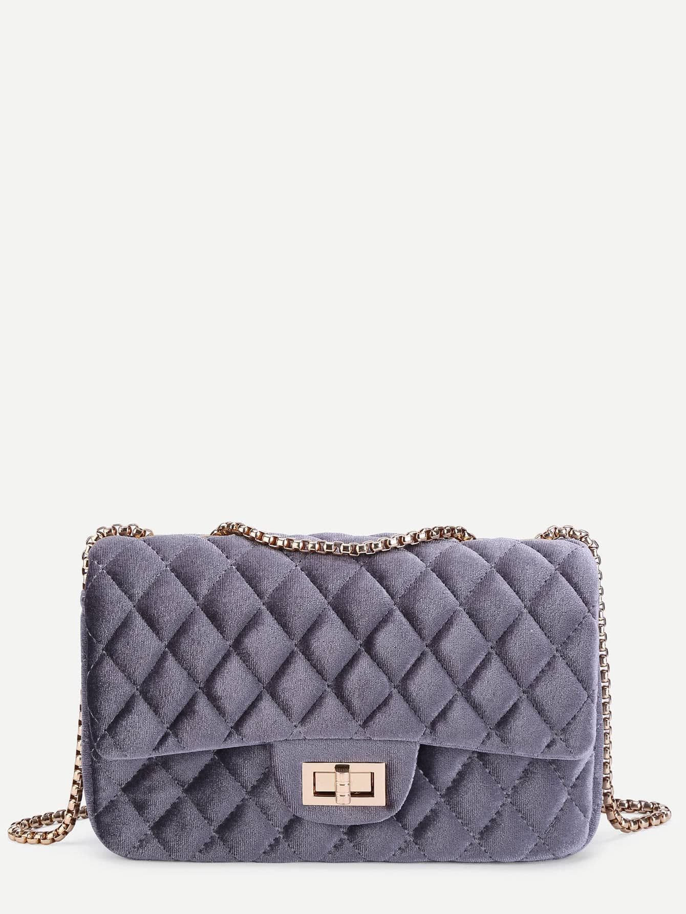 Twist Lock Quilted Velvet Chain Bag metal lock quilted crossbody chain bag