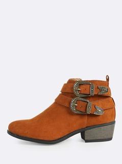 Zip Up Buckle Accent Boots CHESTNUT