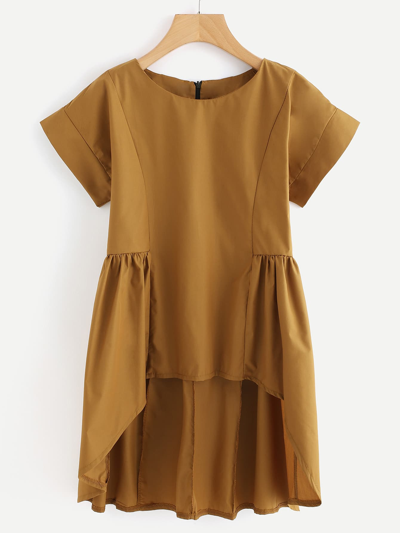 Dip Hem Zipper Back Blouse blouse170817111