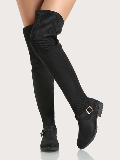 Ribbed Accent Faux Suede Thigh High Boots BLACK