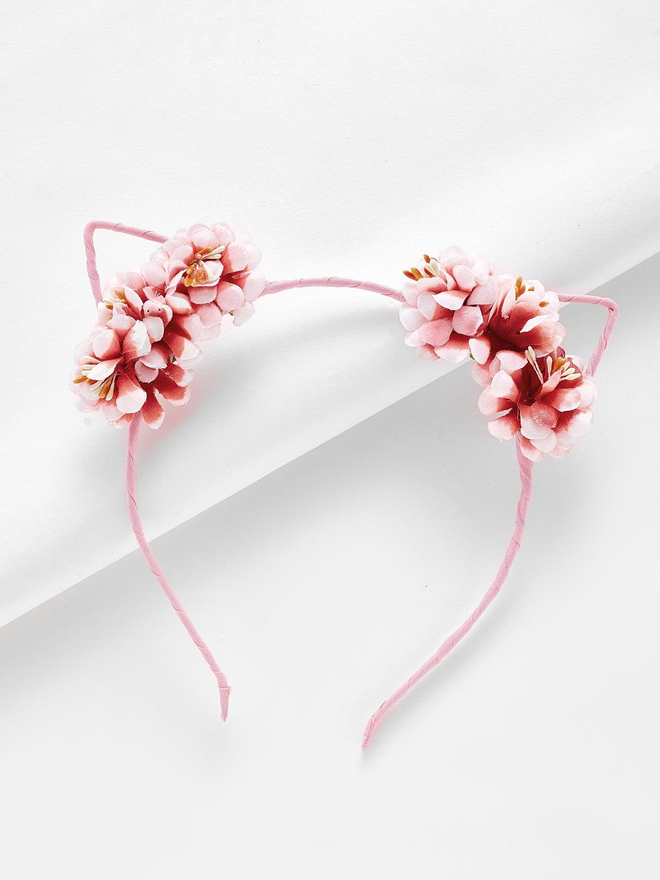 Cat Ear Flower Design Headband lace cat ear design headband 2pcs