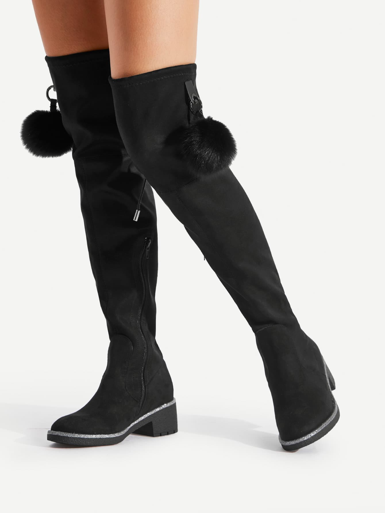 Pom Pom Decorated Over The Knee Boots new women over knee boots with fur black thigh high boots shoes woman round toe winter stretch slim winter boots black fs 0104
