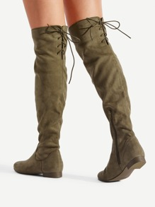 Back Lace Up Thigh High Flat Boots