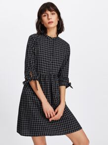 Tie Cuff Grid Smock Shirt Dress