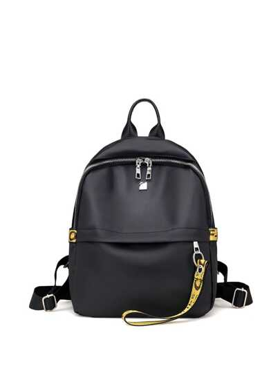 Double Zipper Strap Decorated Backpack