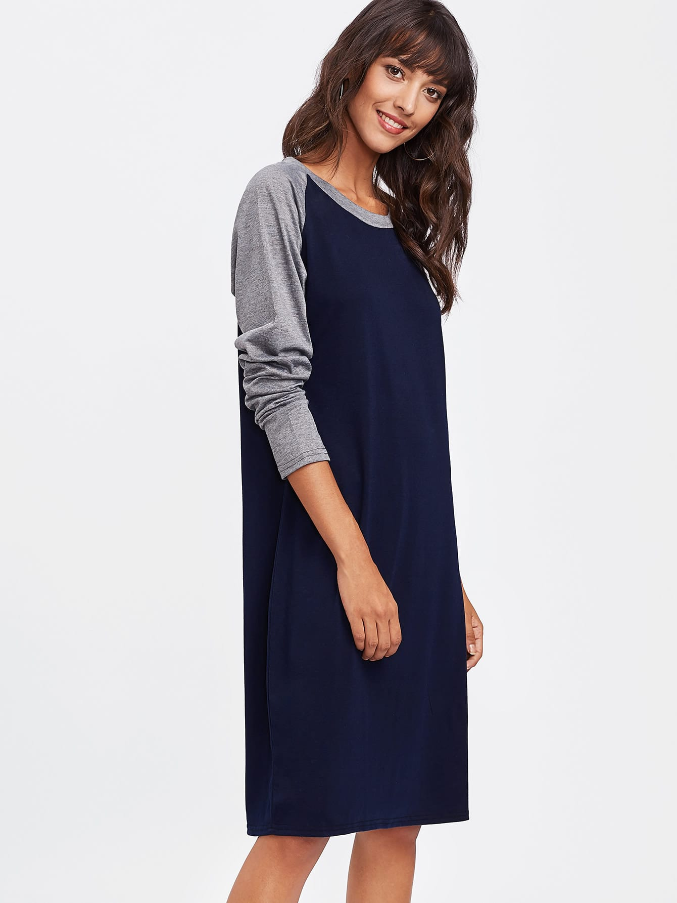 Contrast Marled Raglan Sleeve Tee Dress raglan sleeve binding marled crop top