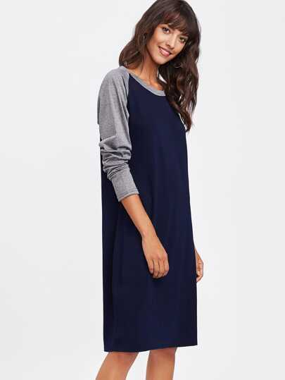 Contrast Marled Raglan Sleeve Tee Dress