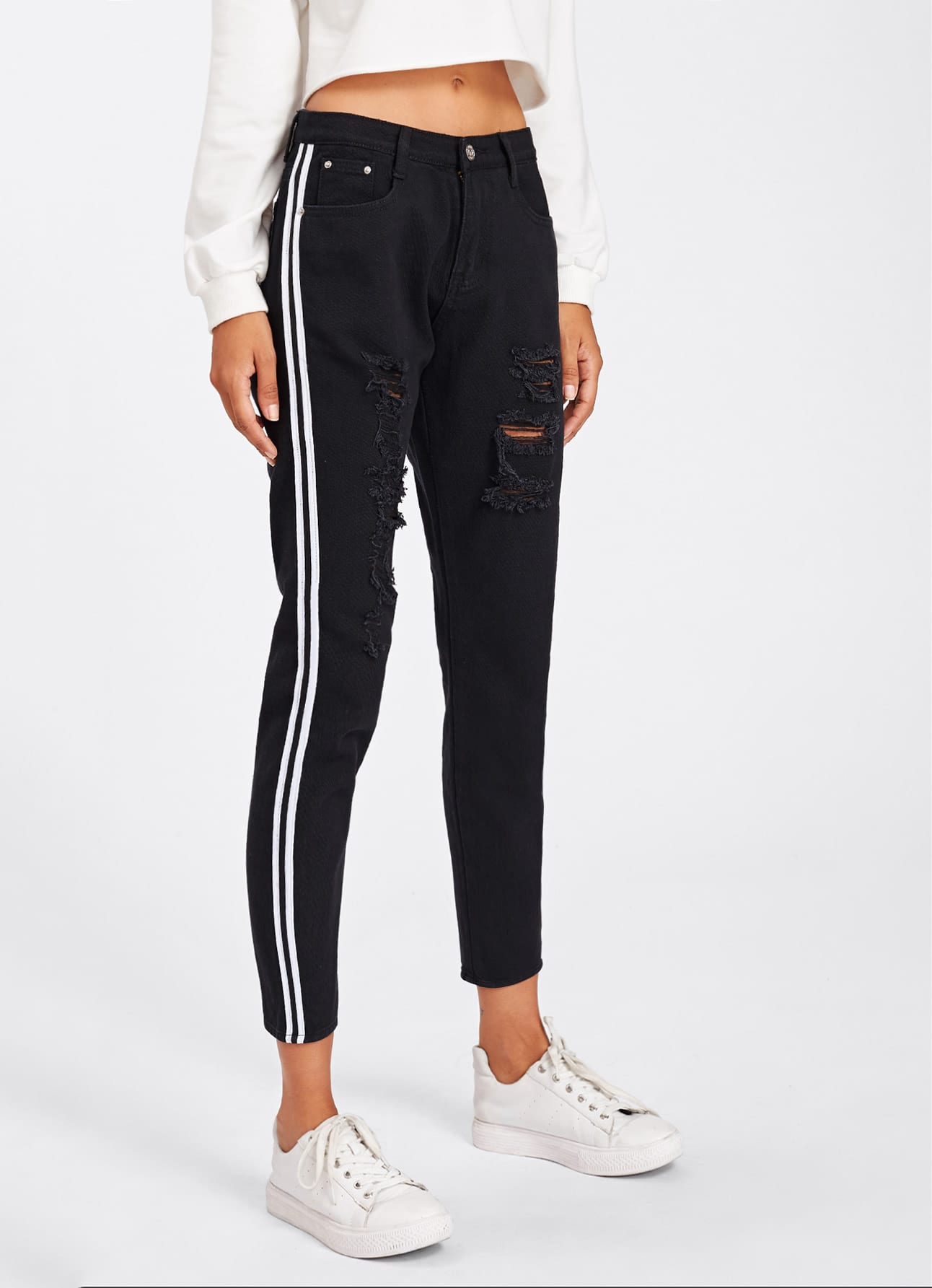 Contrast Stripe Ripped Jeans