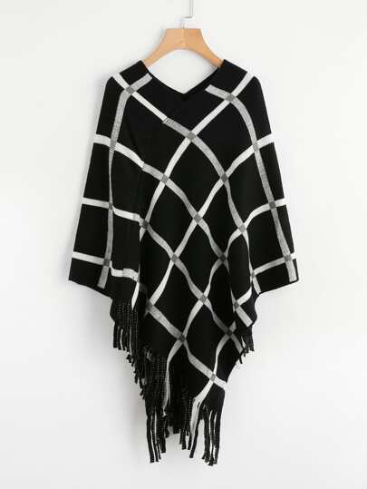 Tattersall Plaid Poncho Sweater