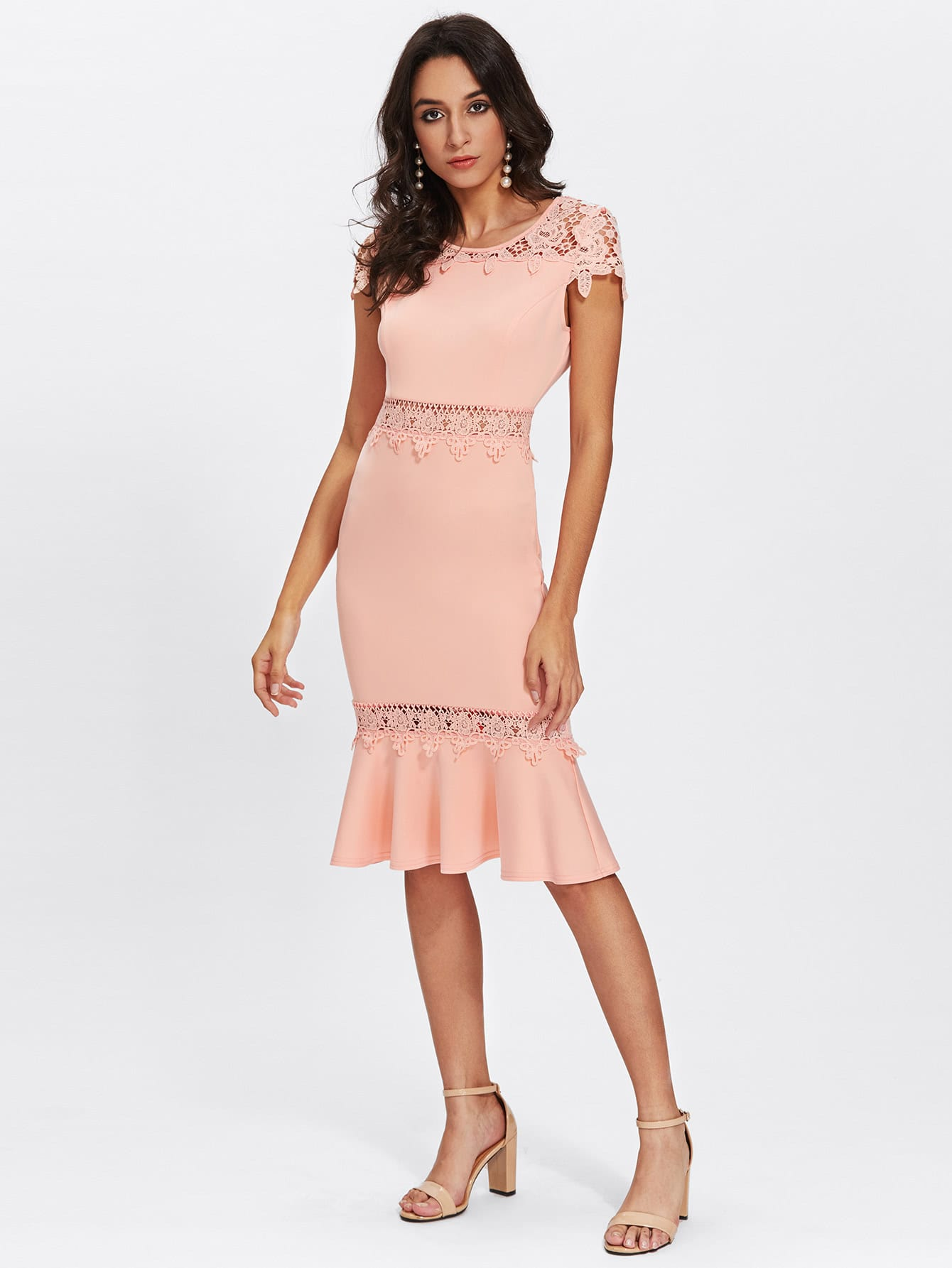 Guipure Lace Insert Flounce Hem Fitted Dress