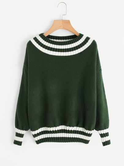 Lantern Sleeve Drop Shoulder Striped Trim Sweater