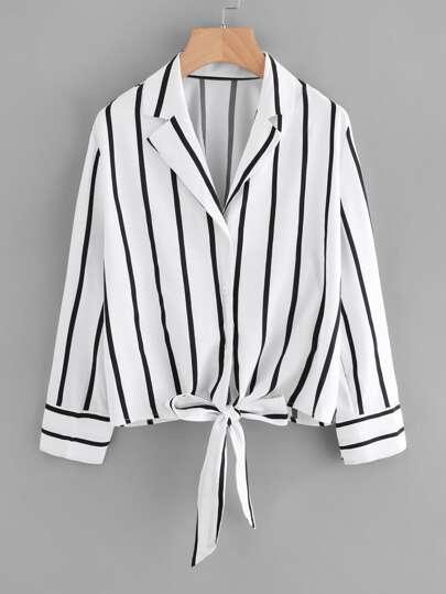 Striped Knot Front Lapel Shirt