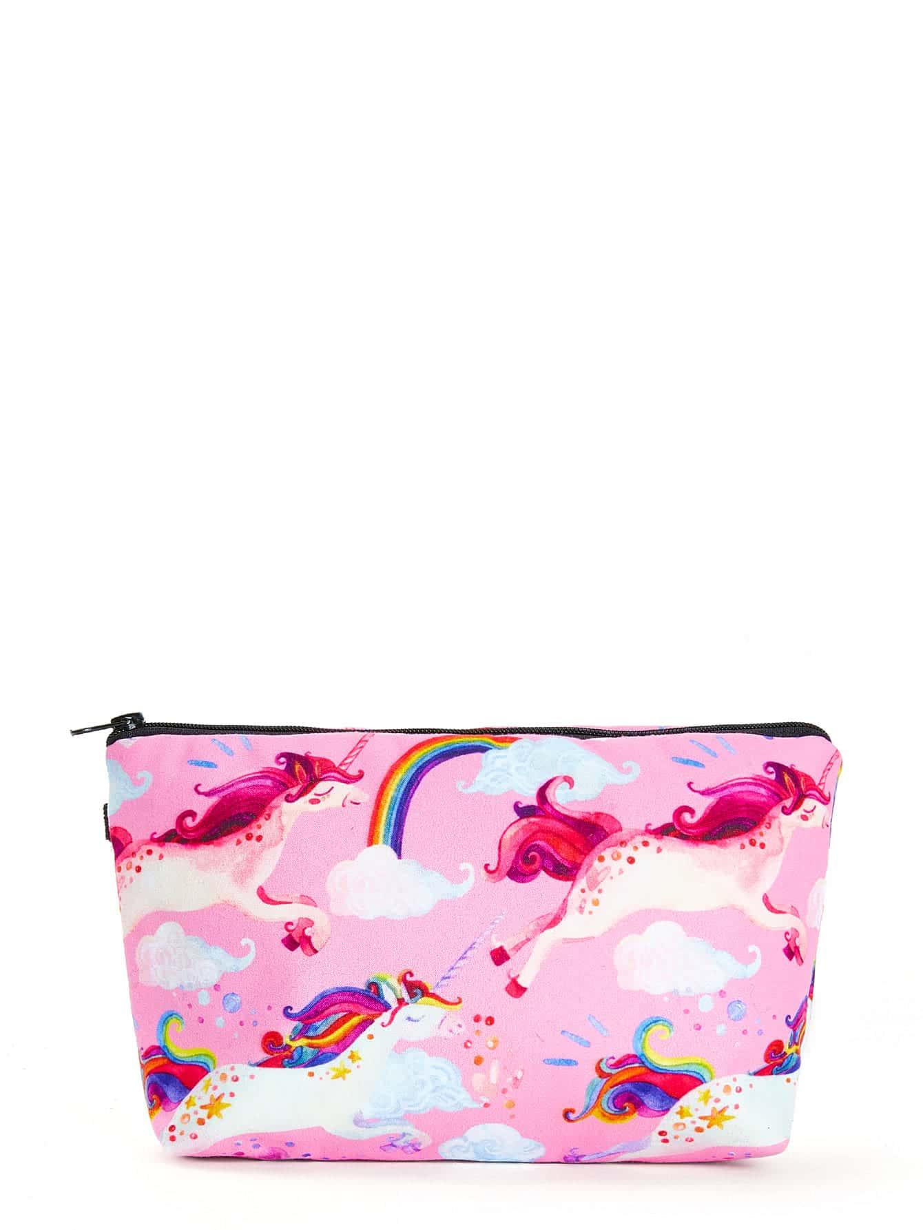 Unicorn & Rainbow Print Zipper Pouch