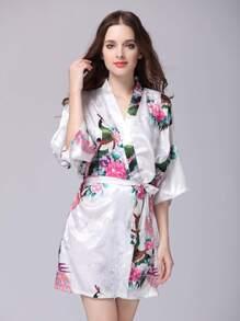Satin Florals Kimono Sleeve Wrap Robe