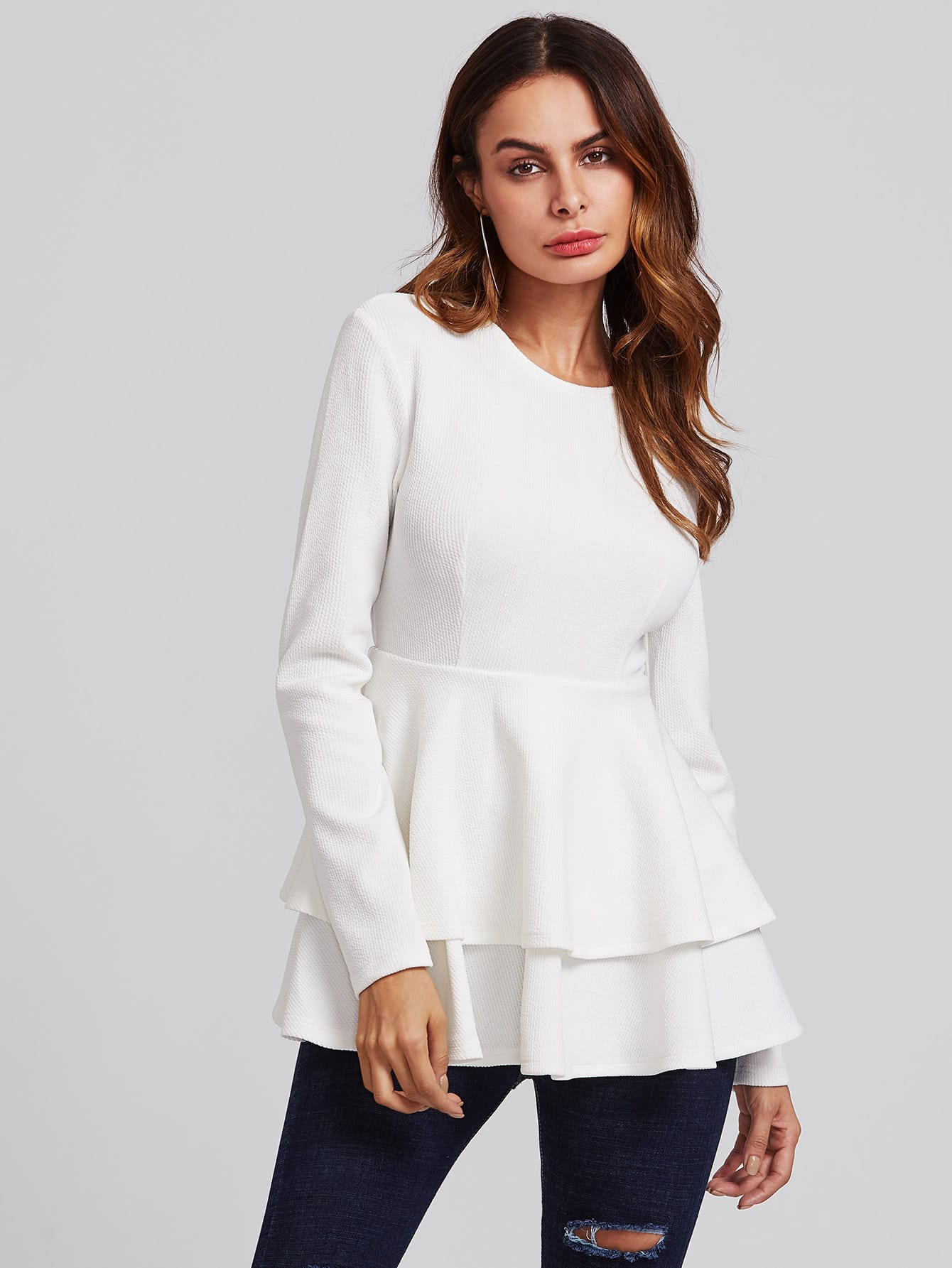 Layered Flounce Trim Ribbed Top pearl detail layered frill sleeve top