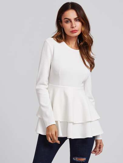 Layered Flounce Trim Ribbed Top