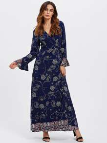 Bell Cuff Paisley Floral Wrap Dress