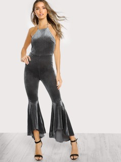 Halter Neck Backless Hi Lo Flared Jumpsuit