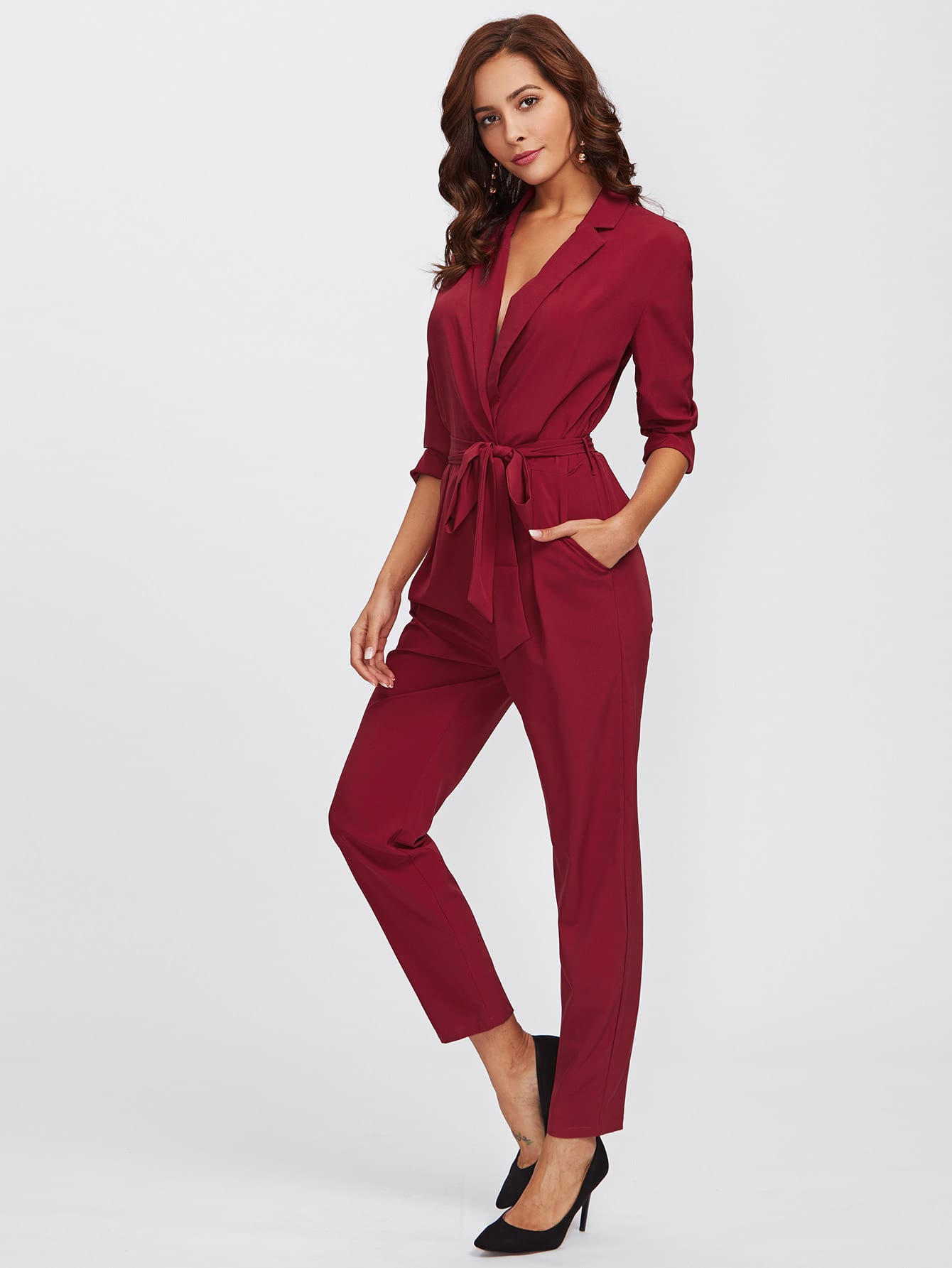 Wrap And Tie Detail Tailored Jumpsuit