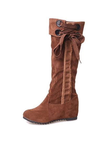 Suede Tie Detail Hidden Wedge Calf Length Boots