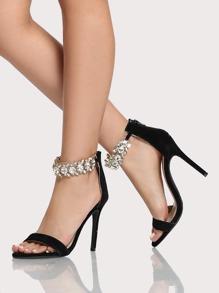 Diamond Ankle Strap Single Band Heels BLACK