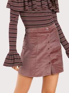 Button Down Mini Skirt MAUVE
