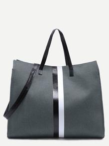 رمادي داكن قماش حمل حقيبة مع الشريط