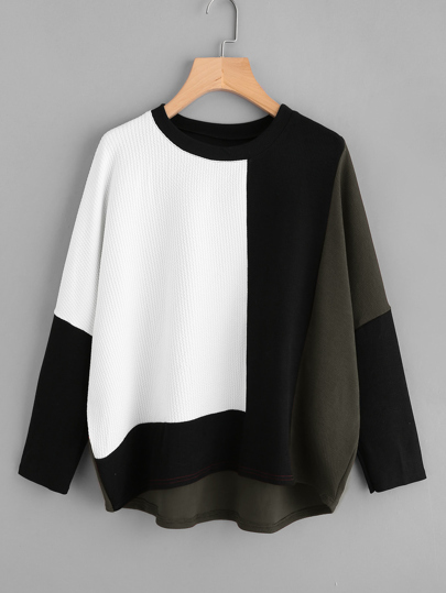 Cut And Sew Dip Hem Textured Pullover