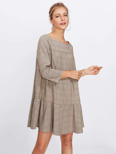Drop Waist Swing Plaid Dress