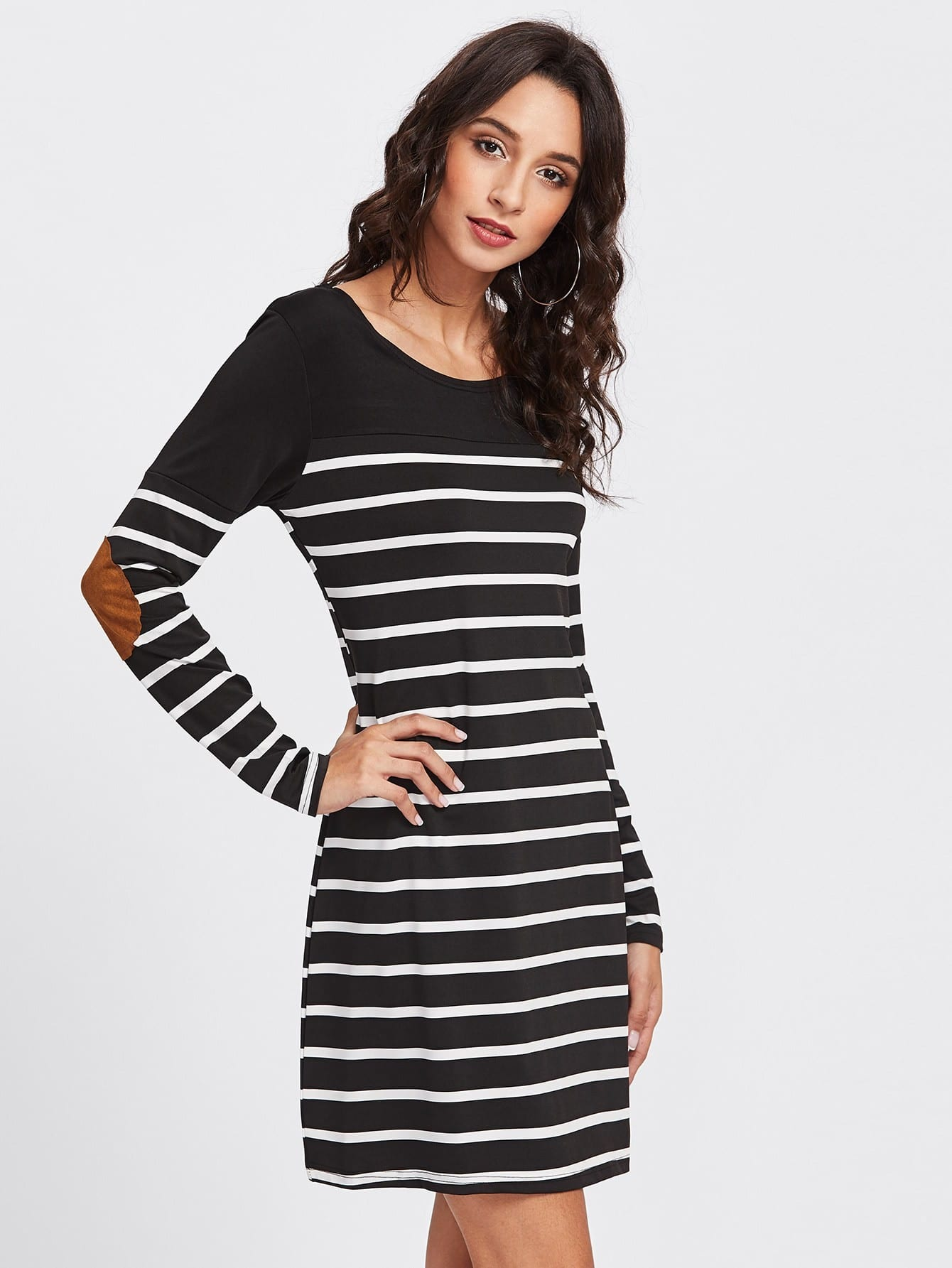 Elbow Patch Striped Tee Dress dress171023182