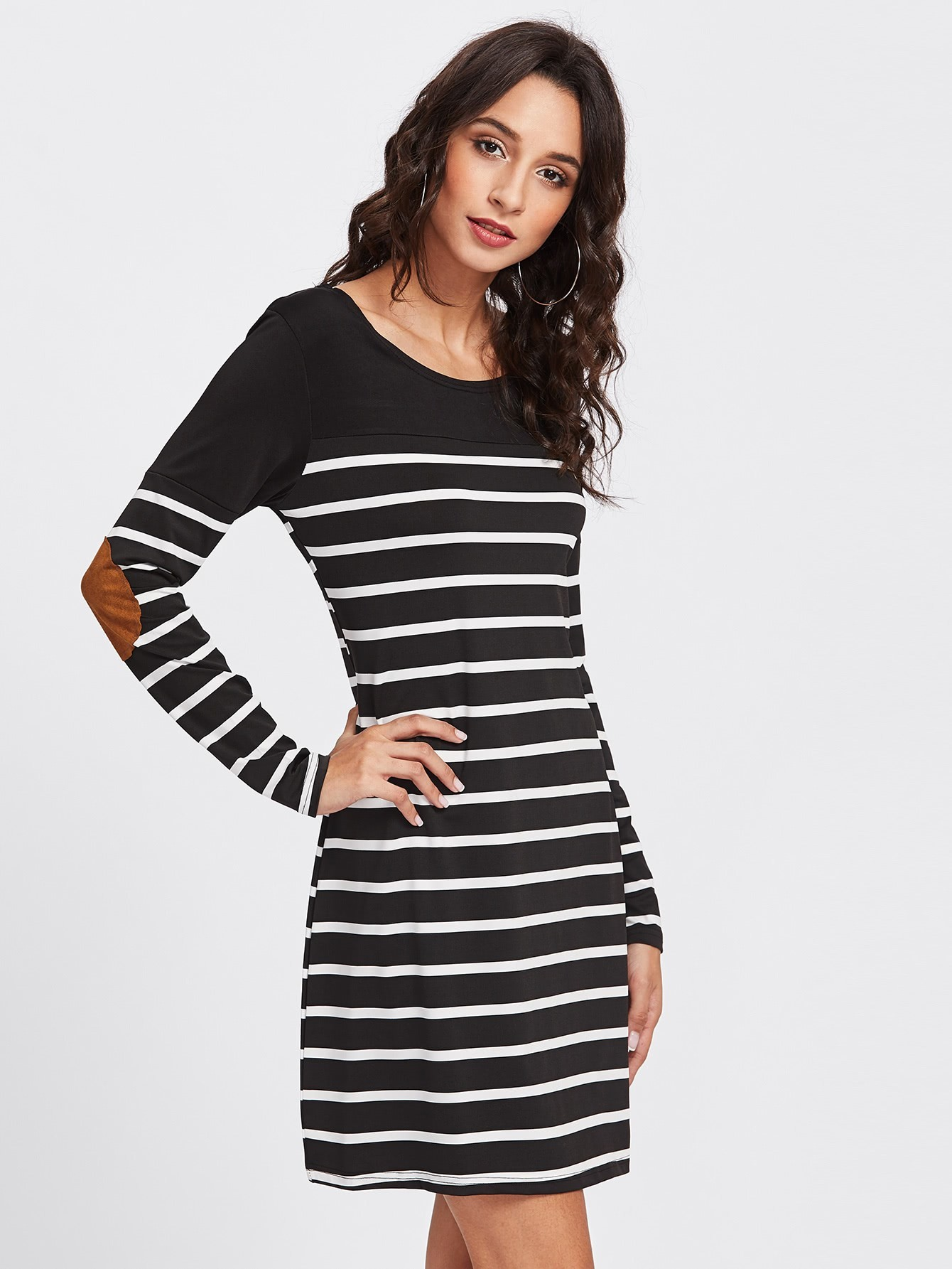 Elbow Patch Striped Tee Dress dress171023182