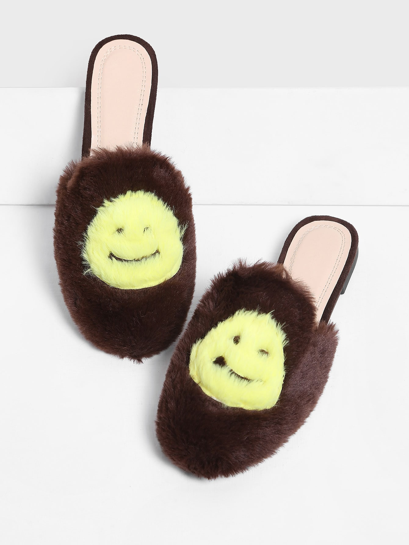 Emoji Design Two Tone Flat Slippers drop crotch loose two tone pants