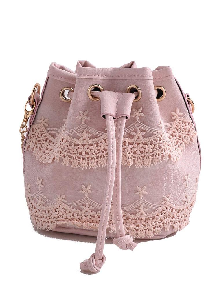 Crochet Lace Drawstring Bucket Bag weave drawstring bucket bag