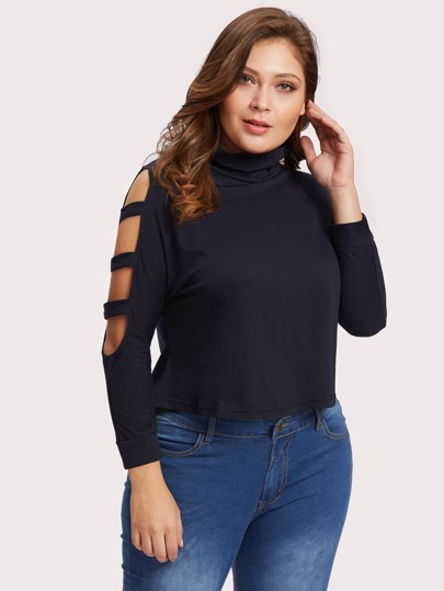 High Neck Cut Out Sleeve Tee