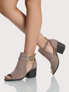 Peep Toe Cut Out Booties TAUPE