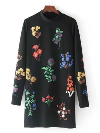 Flower Embroidery Mock Neck Dress