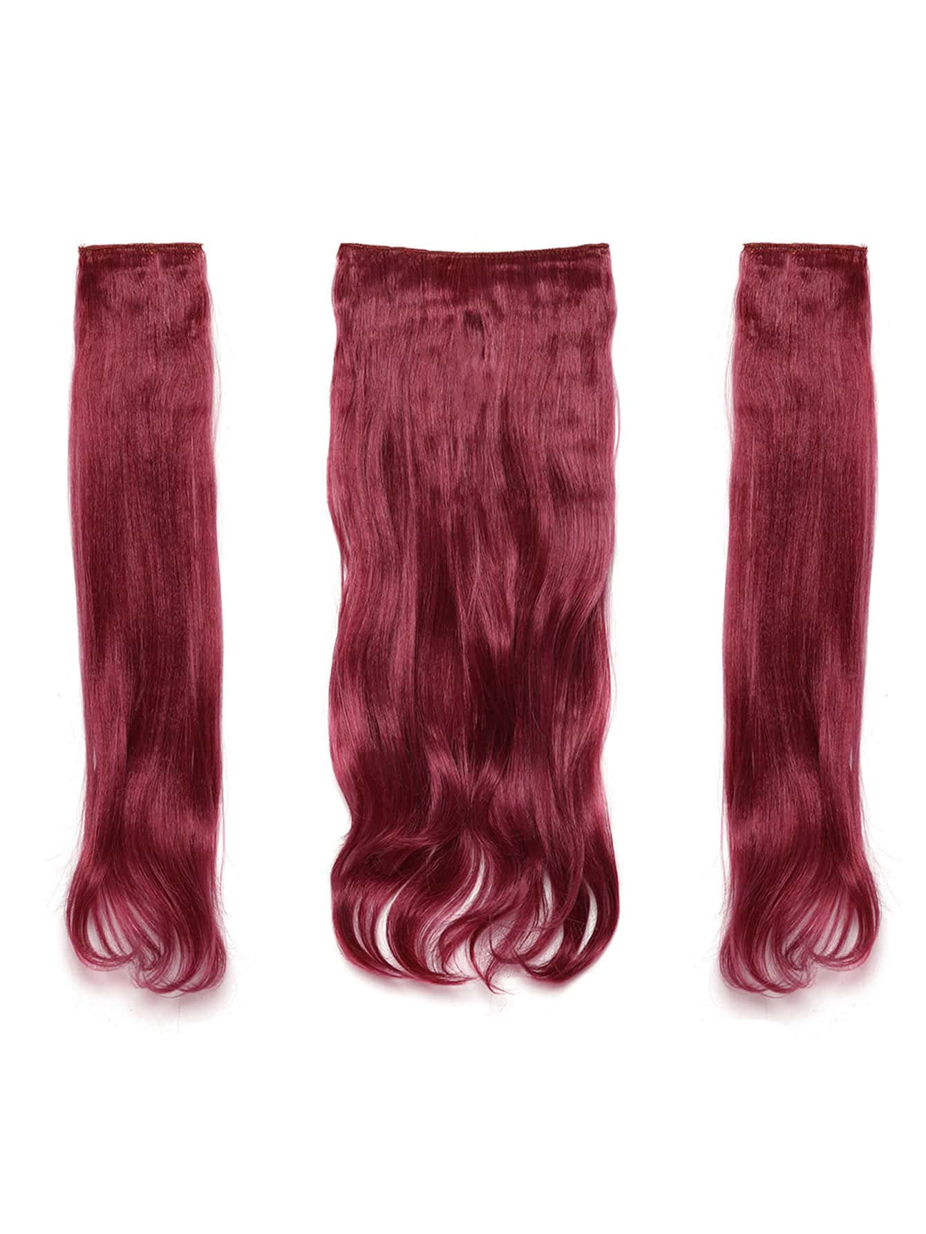 Burgundy Clip In Soft Wave Hair Extension 3pcs