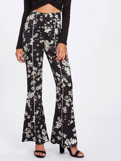 Flower Print Flared Pants