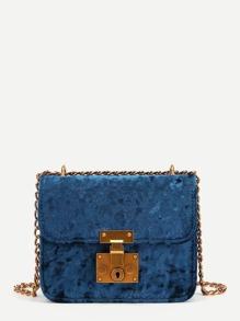 Flap Velvet Chain Crossbody Bag