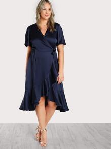Satin Self Tie Wrap Dress BLUE