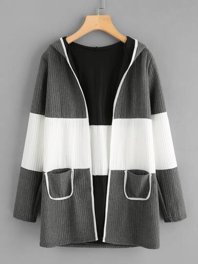 Hooded Color Block Ribbed Coat