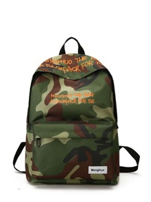 Letter Embroidery Camo Print Backpack