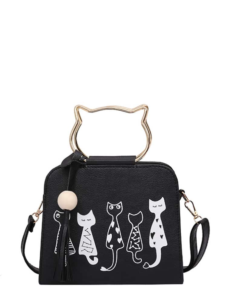 Cartoon Print PU Shoulder Bag With Cat Ear Handle все цены