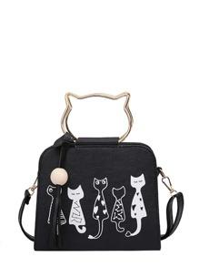 Cartoon Print PU Shoulder Bag With Cat Ear Handle