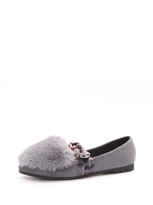 Faux Fur Knotted Detail Suede Flats