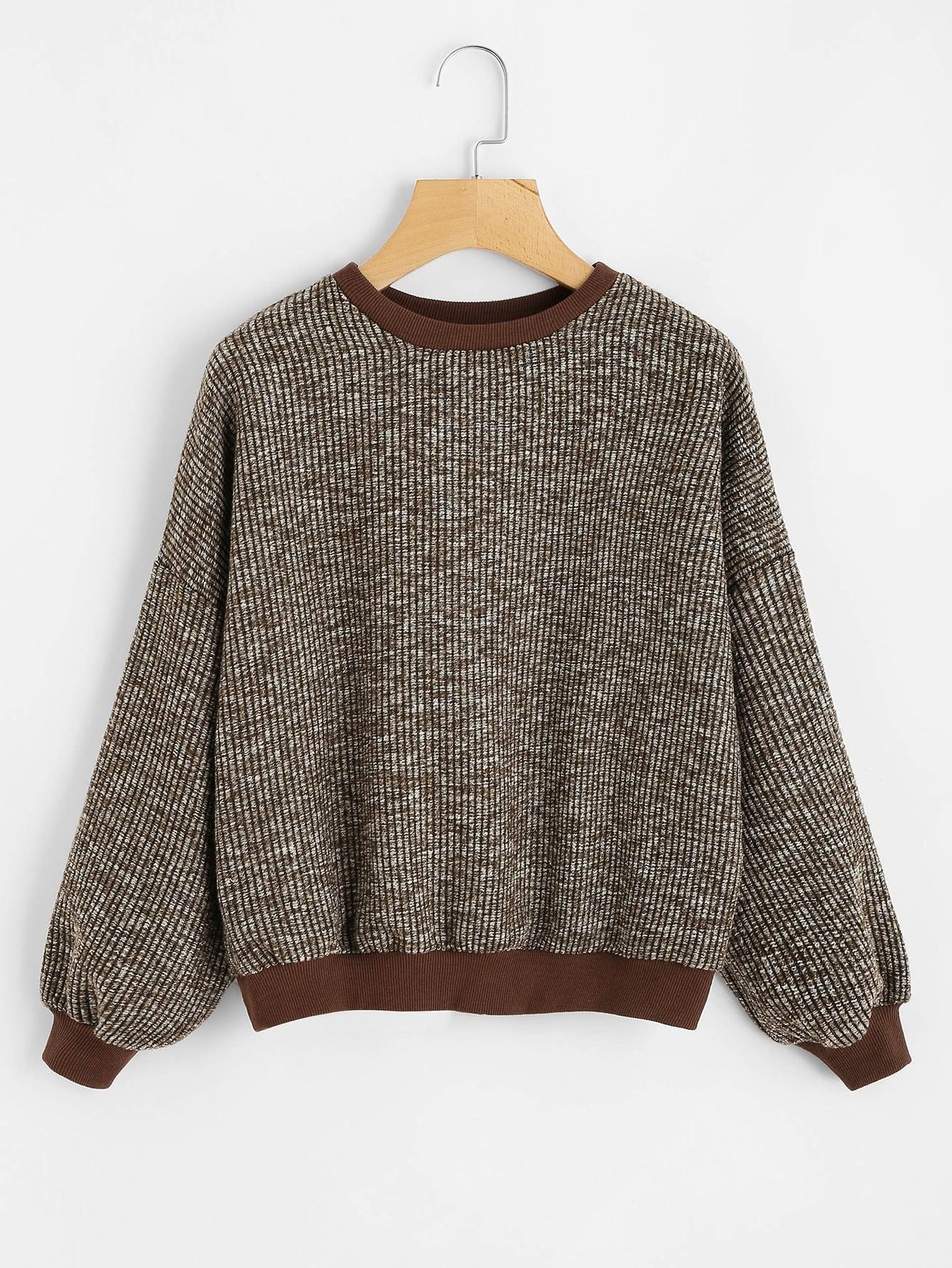 Lantern Sleeve Drop Shoulder Ribbed Sweater