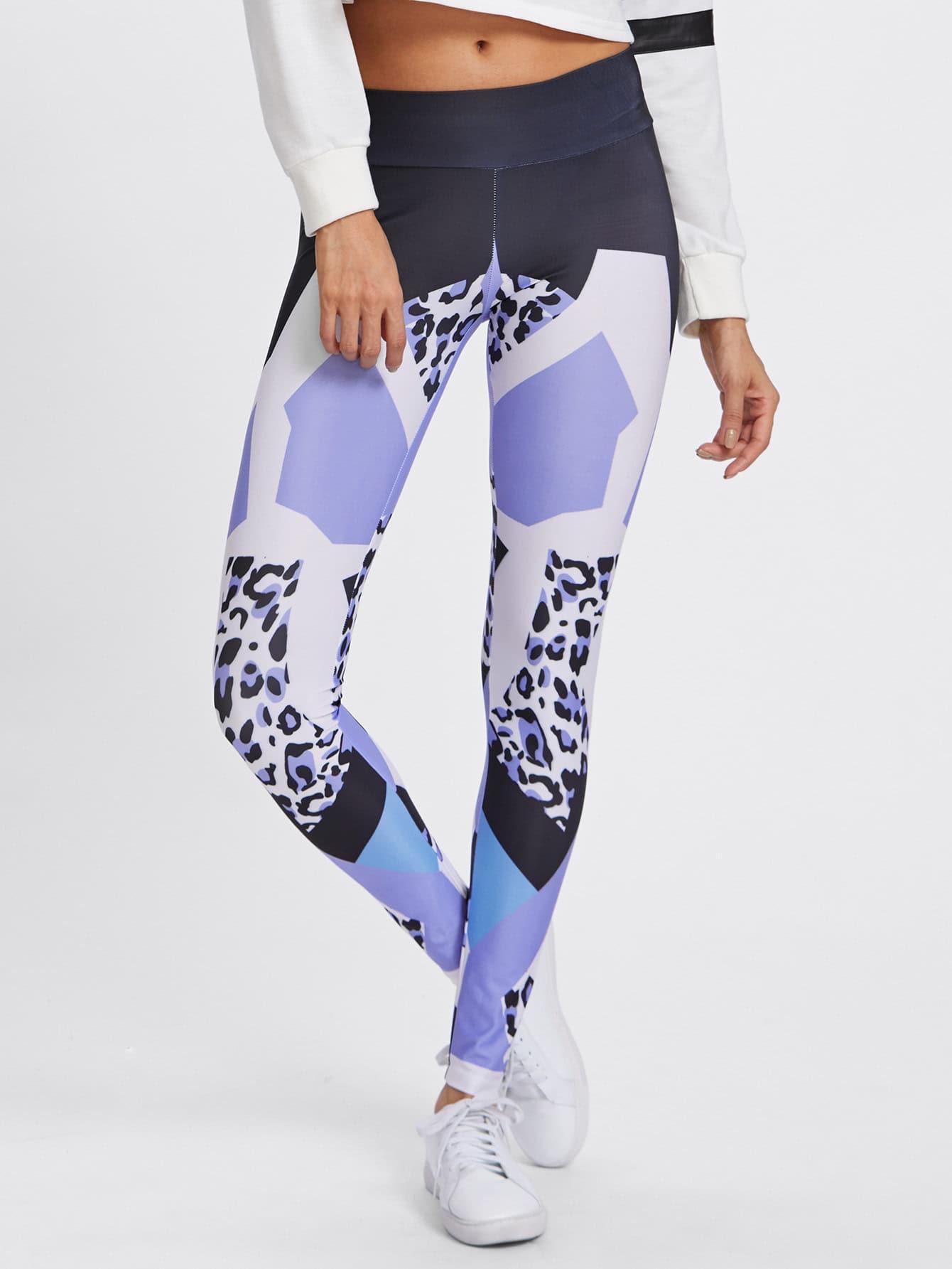 Wide Waistband Mixed Print Leggings knit wide waistband leggings