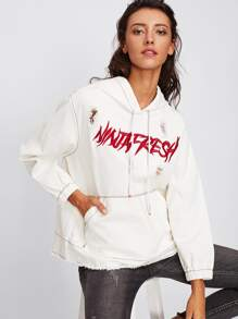 Embroidered Ripped Detail Hoodie Jacket